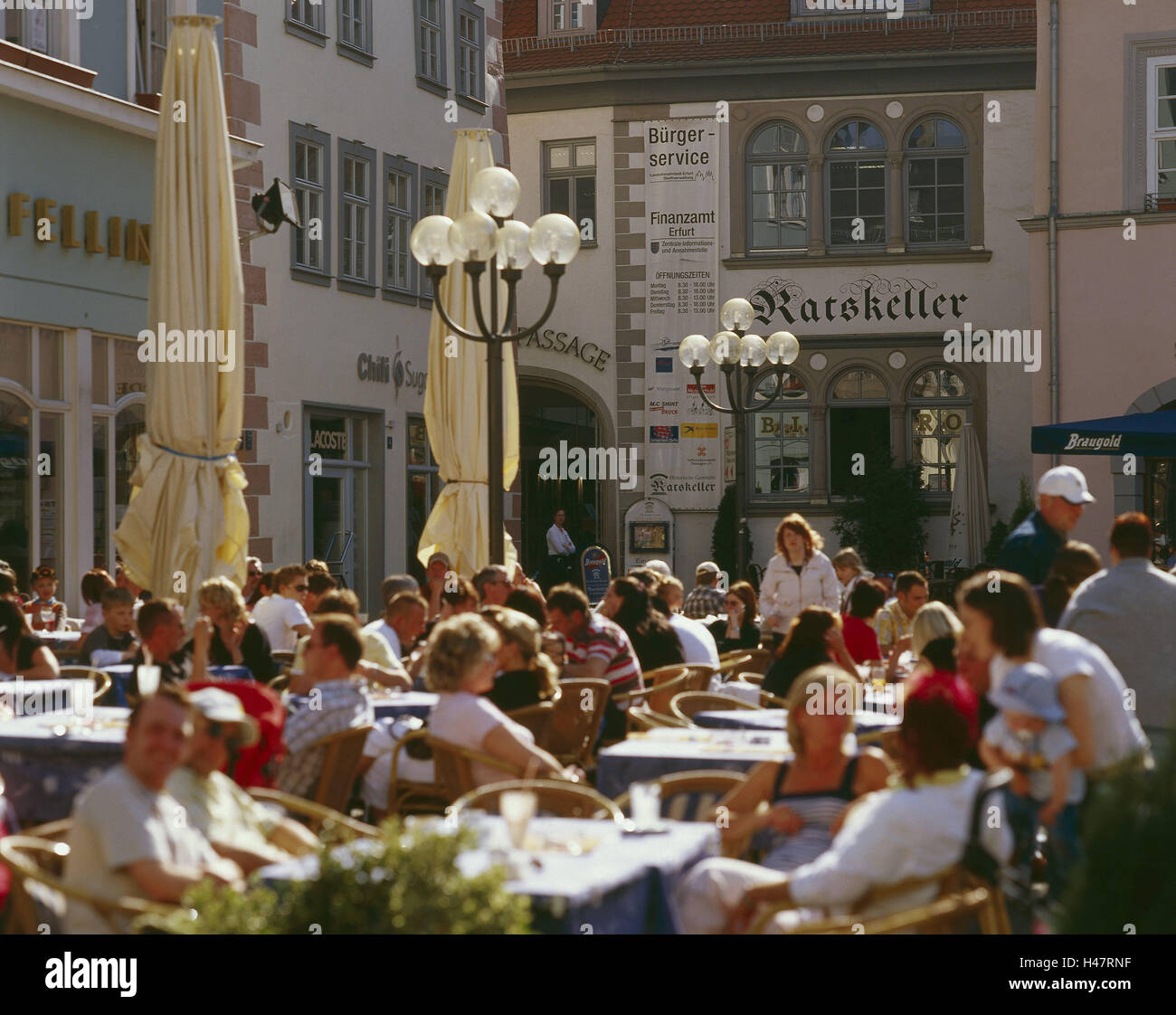 Germany, Thuringia, Erfurt, Marktstrasse, street cafe, guests, town, space, cafe, bar, person, crowd people, tourist, - Stock Image