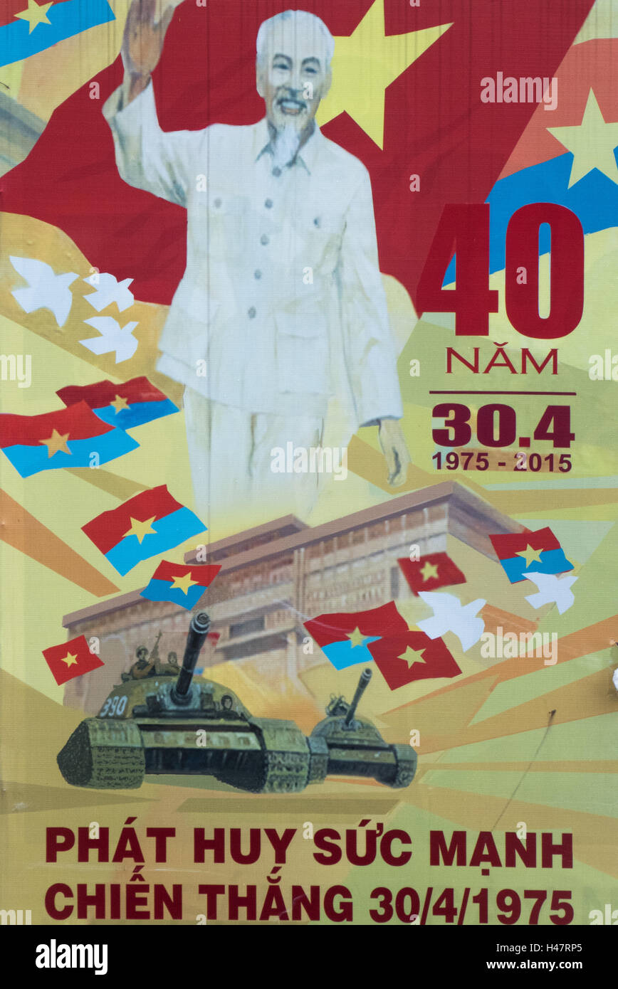 Street propaganda poster celebrating forty years of Vietnamese unification and independence, Ho Chi Minh City, Viet - Stock Image