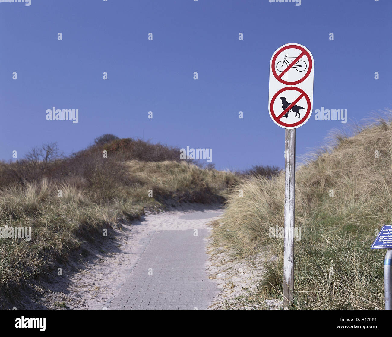 Germany, Lower Saxony, island, Langeoog, dunes, no parking sign, dogs, bicycles, North Germany, North Sea island, Stock Photo