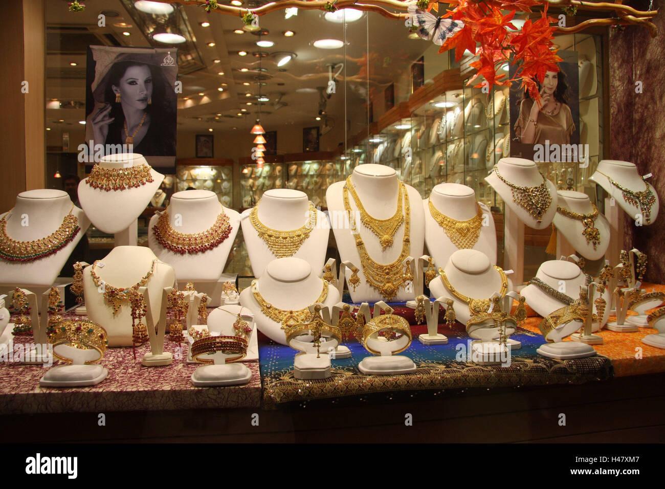 United Arab Emirates, Dubai, jeweller, shop-window, town, destination, place of interest, tourism, business, loading, - Stock Image