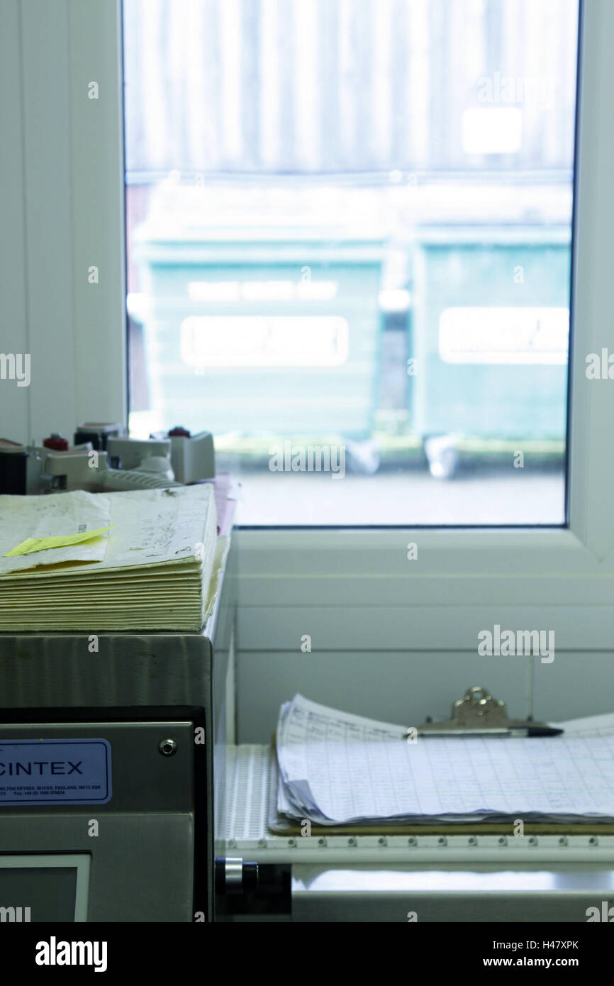 Office, bases, windows, view, waste container, back light, factory, workroom, Clipboard, papers, office windows, - Stock Image