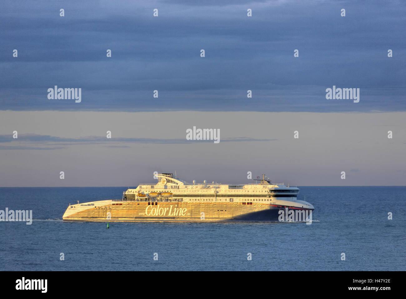 Denmark, Jutland, shepherd's neck, sea, ship, vehicle ferry, Kristiansand-shepherd's neck, cruise ship, - Stock Image