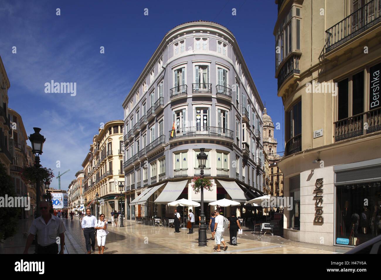 Spain, Andalucia, Malaga, pedestrianized street Marques de Larios, - Stock Image