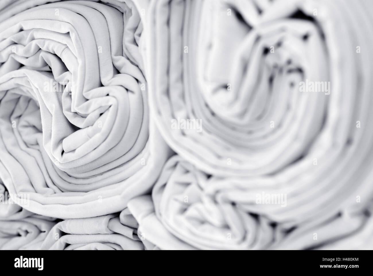 Laundry, bedclothes, substance, folds, white, - Stock Image