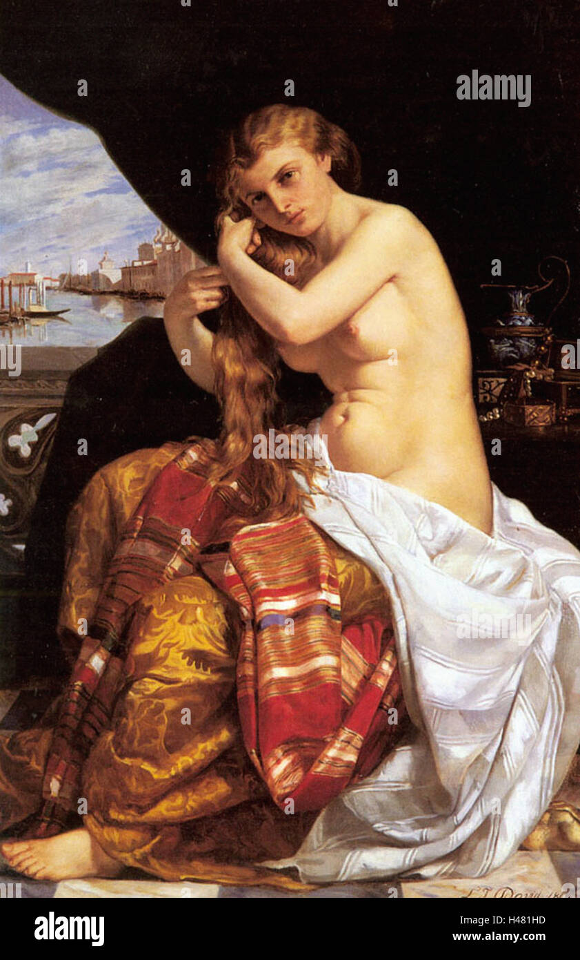 Jacques-Louis David  -  Venetian Lady at Her Toilette Stock Photo
