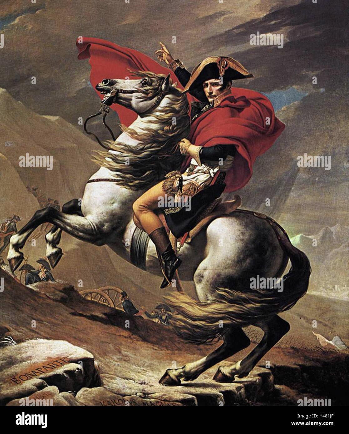Jacques-Louis David  -  Napoleon Crossing the Alps - Stock Image