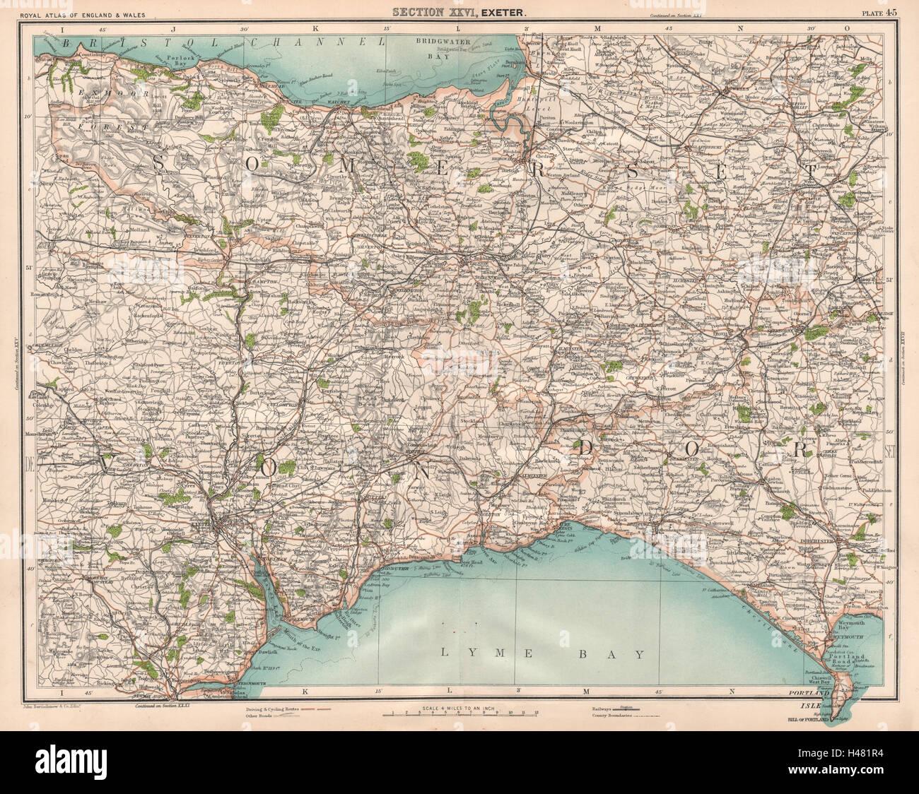Somerset east devon west dorset quantock blackdown hills quantock blackdown hills exmoor 1898 map gumiabroncs Gallery