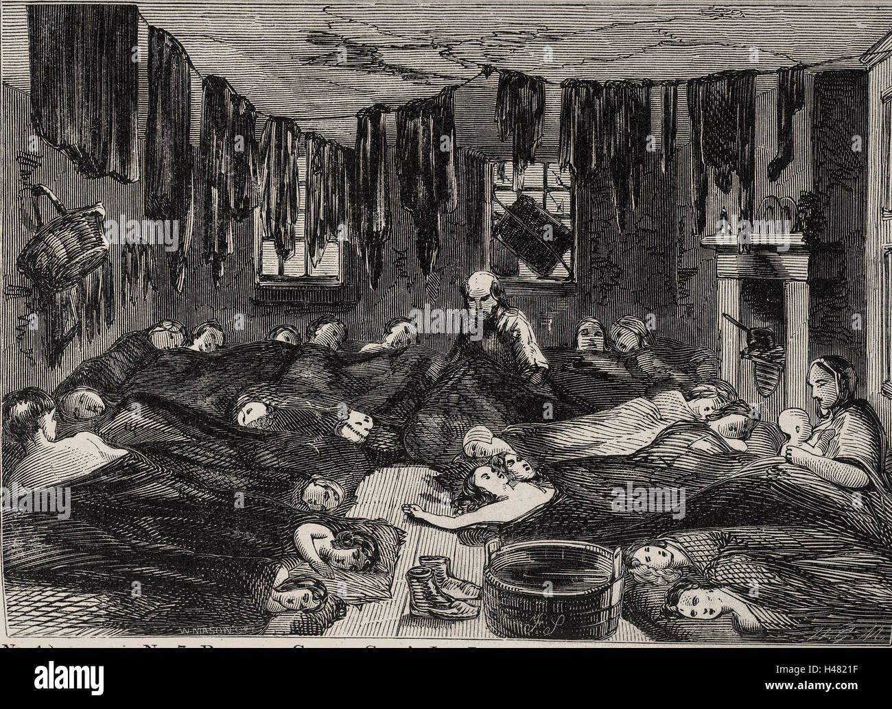 Illustration depicting cramped and squalid housing conditions - Stock Image