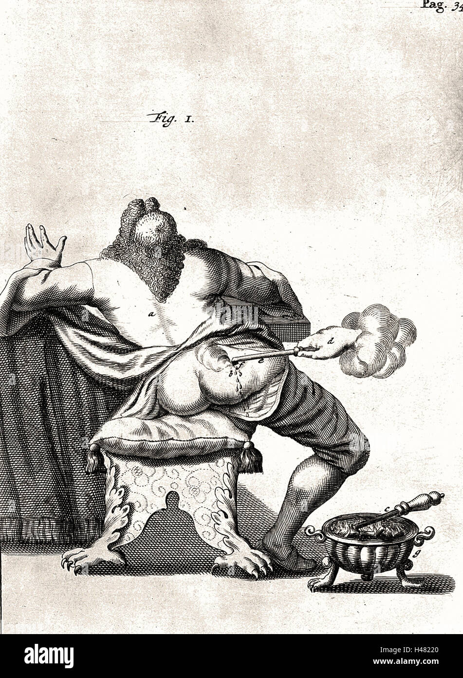 Illustration of wound cauterization, 17th century - Stock Image