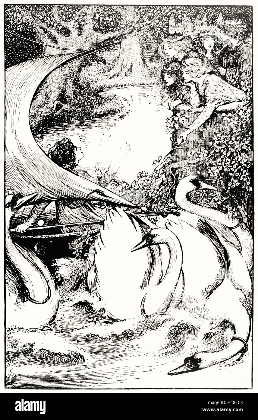 Helen Stratton - Page 35 illustration in fairy tales of Andersen - Stock Image