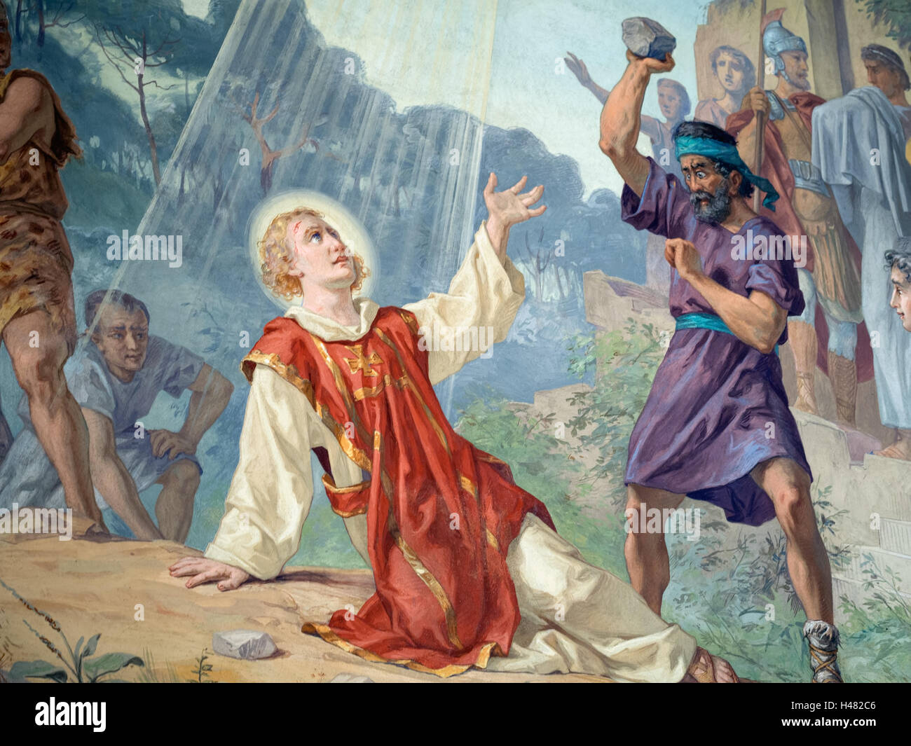 Detail from The stoning of Saint Stephen by Carlo Morgari. Italian artist. Painting in church at Santo Stefano Magra, - Stock Image