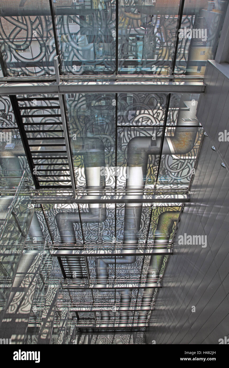 Glass front with stylised pipes, - Stock Image