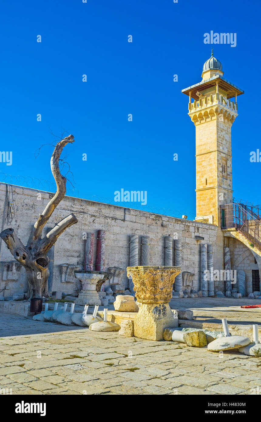 Al-Fakhariyya Minaret of Al-Aqsa Mosque neighboring with the archaeological site of the Temple Mount, Jerusalem, Stock Photo