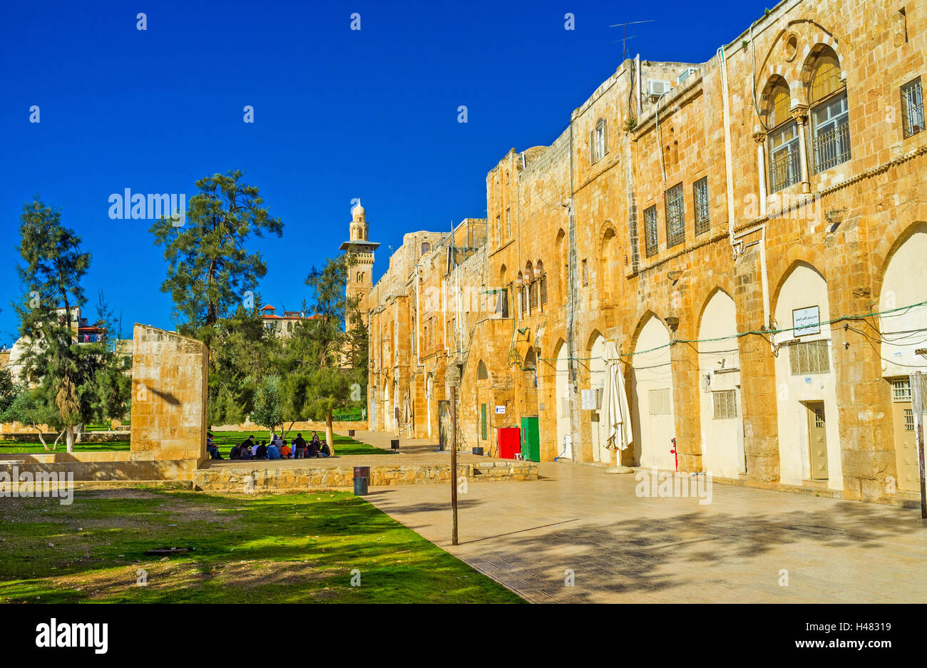 The chidren from Omariya school study next to the Sabil Suleiman on the Temple Mount, Jerusalem Israel Stock Photo