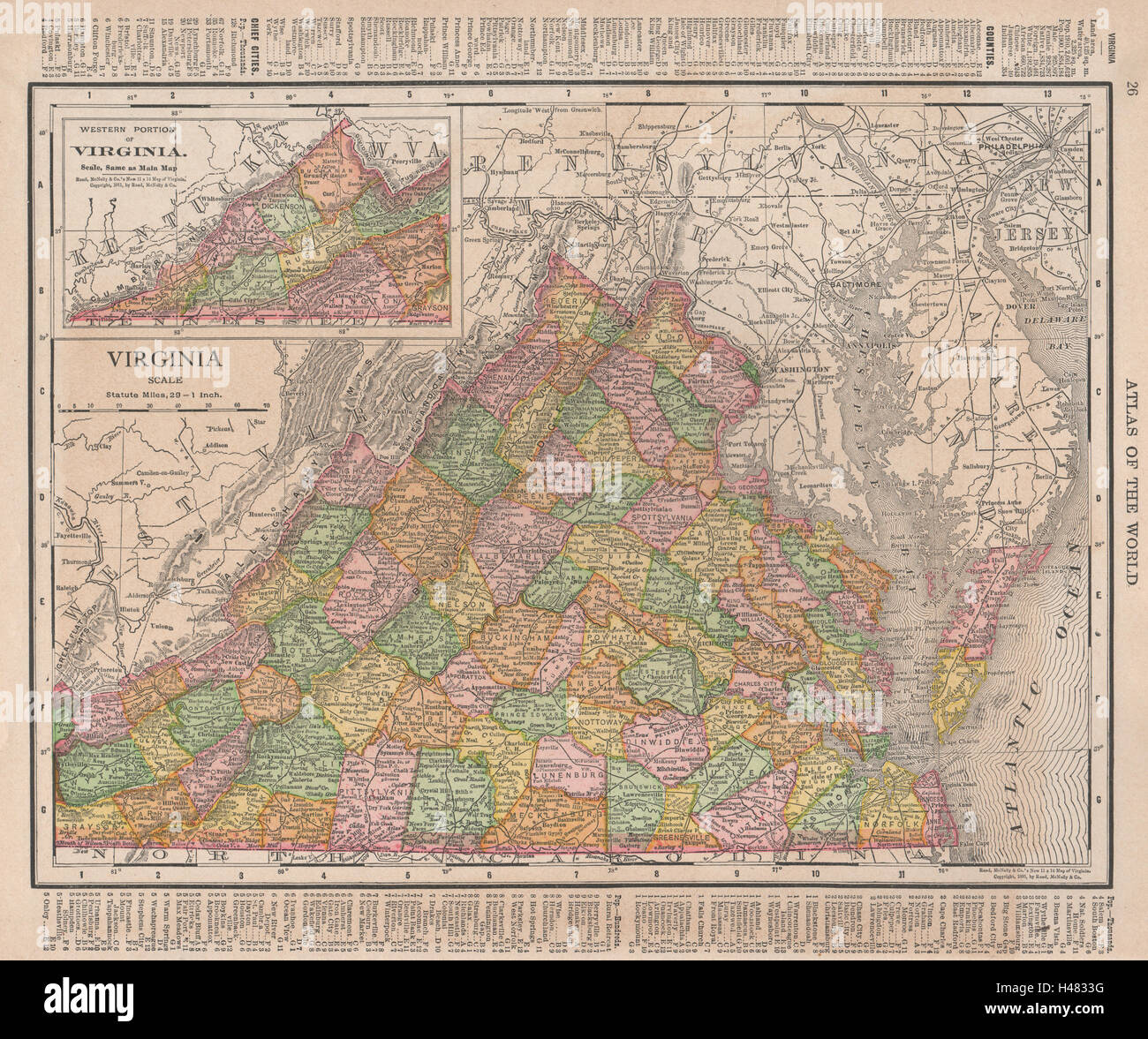Virginia State Map Showing Counties Rand Mcnally 1912 Old Antique