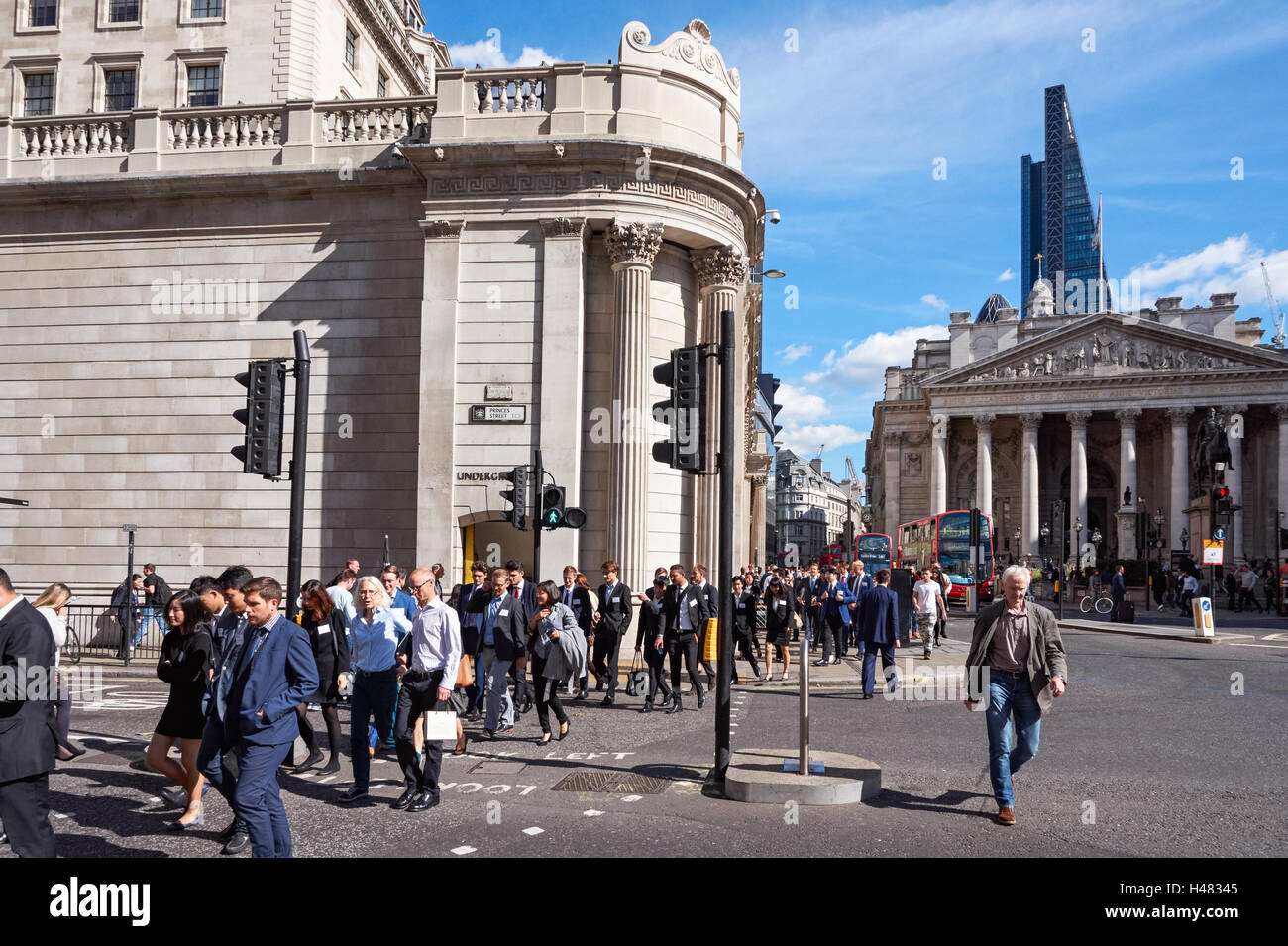 Bank junction with the Bank of England and the Royal Exchange in London, England United Kingdom UK - Stock Image