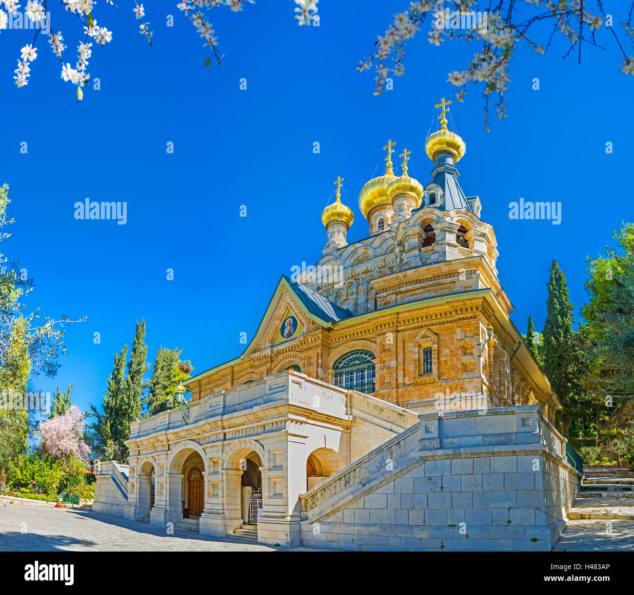 The facade of the  Russian Orthodox Church of Mary Magdalene, located on the Mount of Olives, Jerusalem, Israel. Stock Photo
