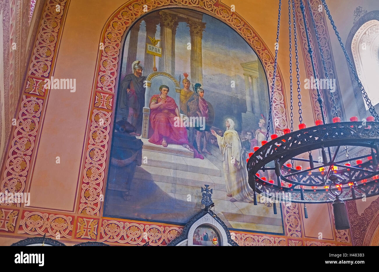 The icon in Russian Orthodox Church of Mary Magdalene showing her in front of Pontius Pilate - Stock Image