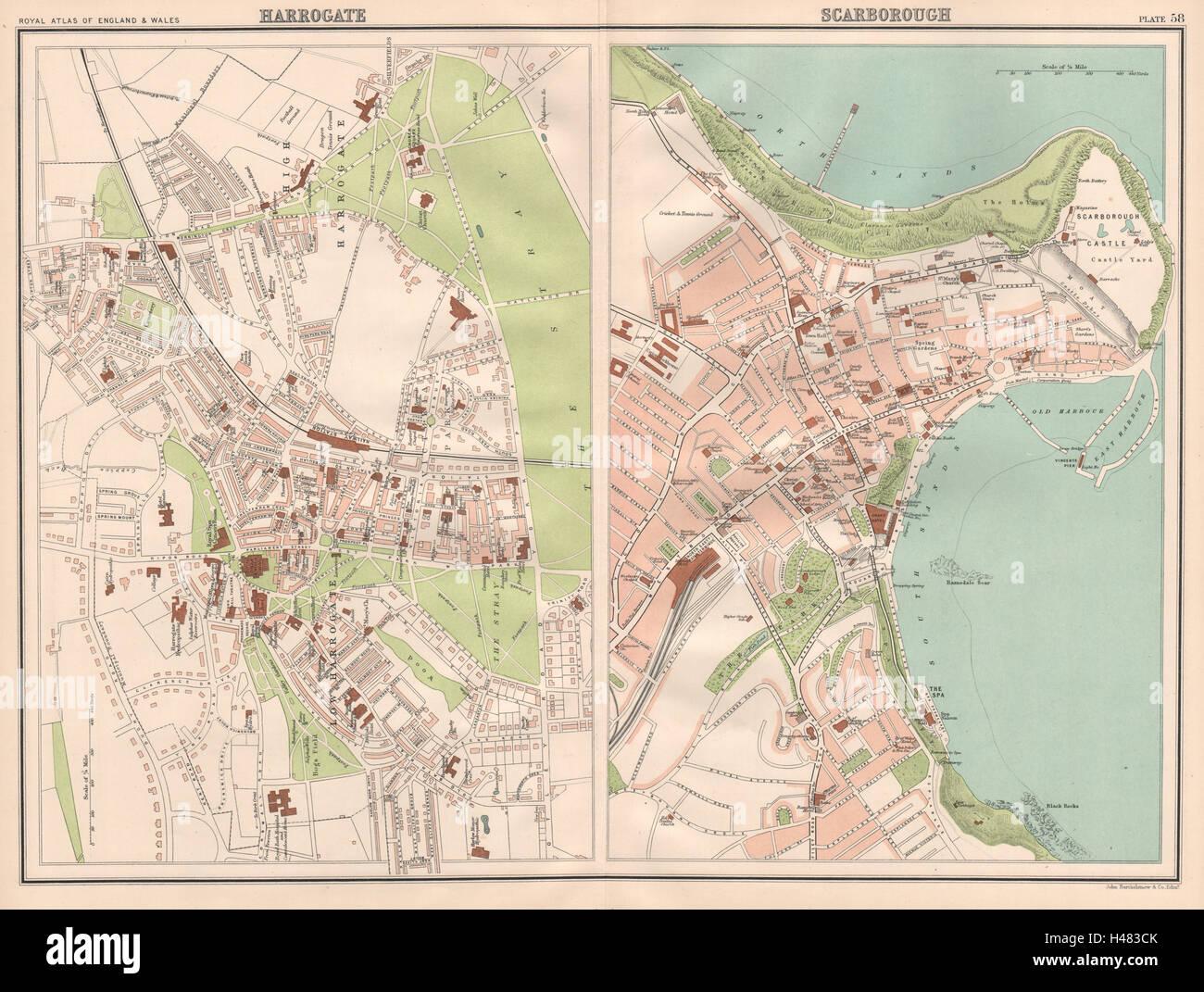 Harrogate England Map.Harrogate Scarborough Antique Town City Plans Bartholomew 1898