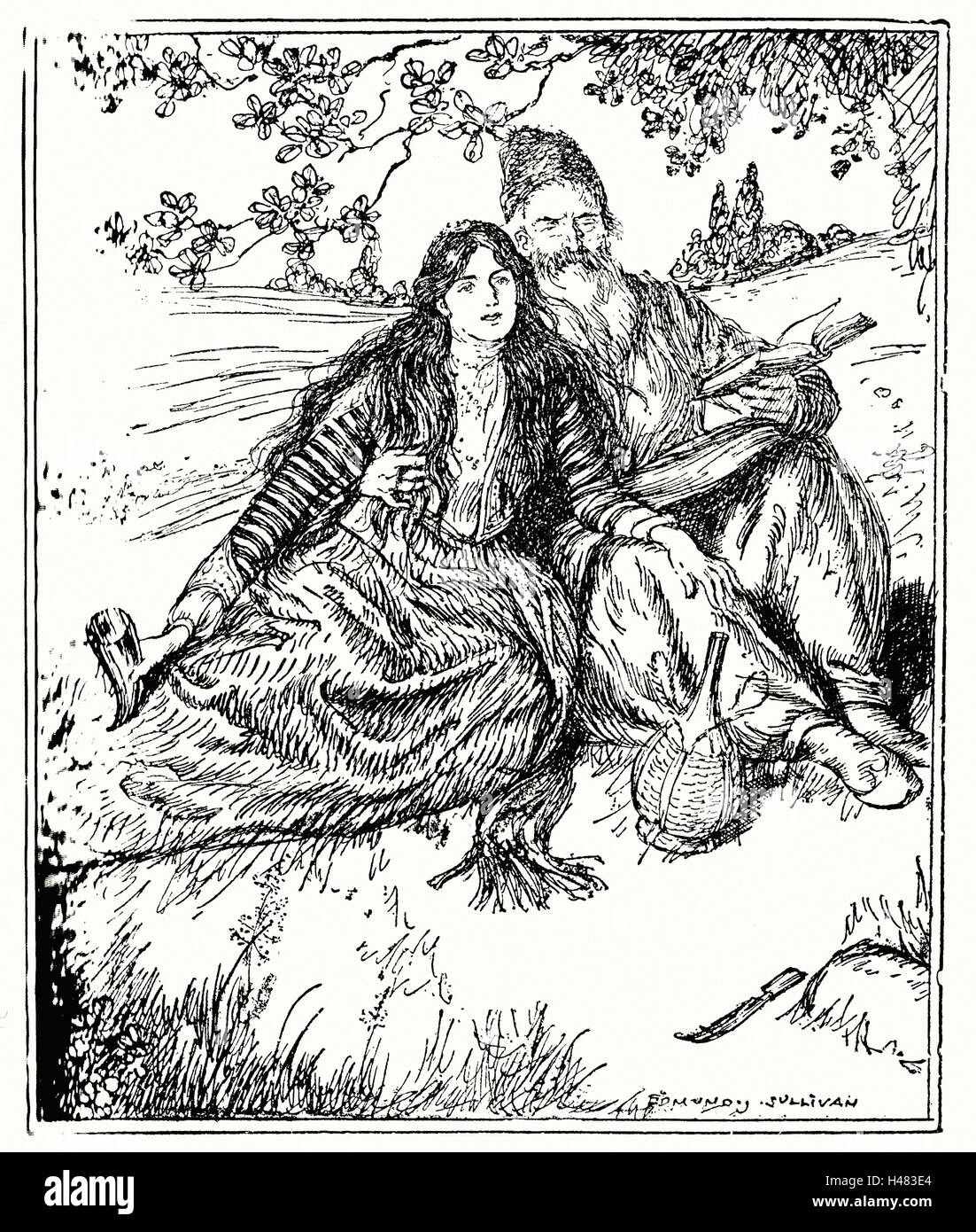 Edmund J Sullivan Illustrations to The Rubaiyat of Omar Khayyam First Version Quatrain - Stock Image