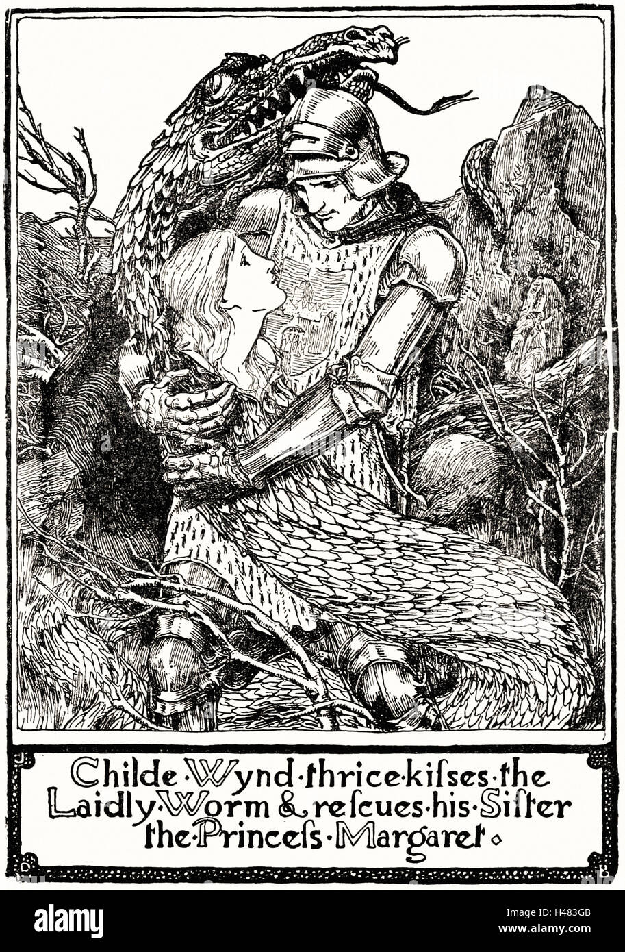 Page 195 illustration in English Fairy Tales - Stock Image