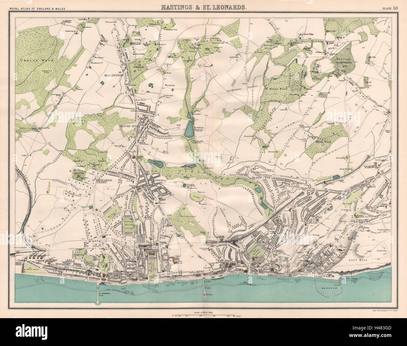 Map Of England Hastings.Hastings St Leonards Antique Town City Plans Bartholomew 1898