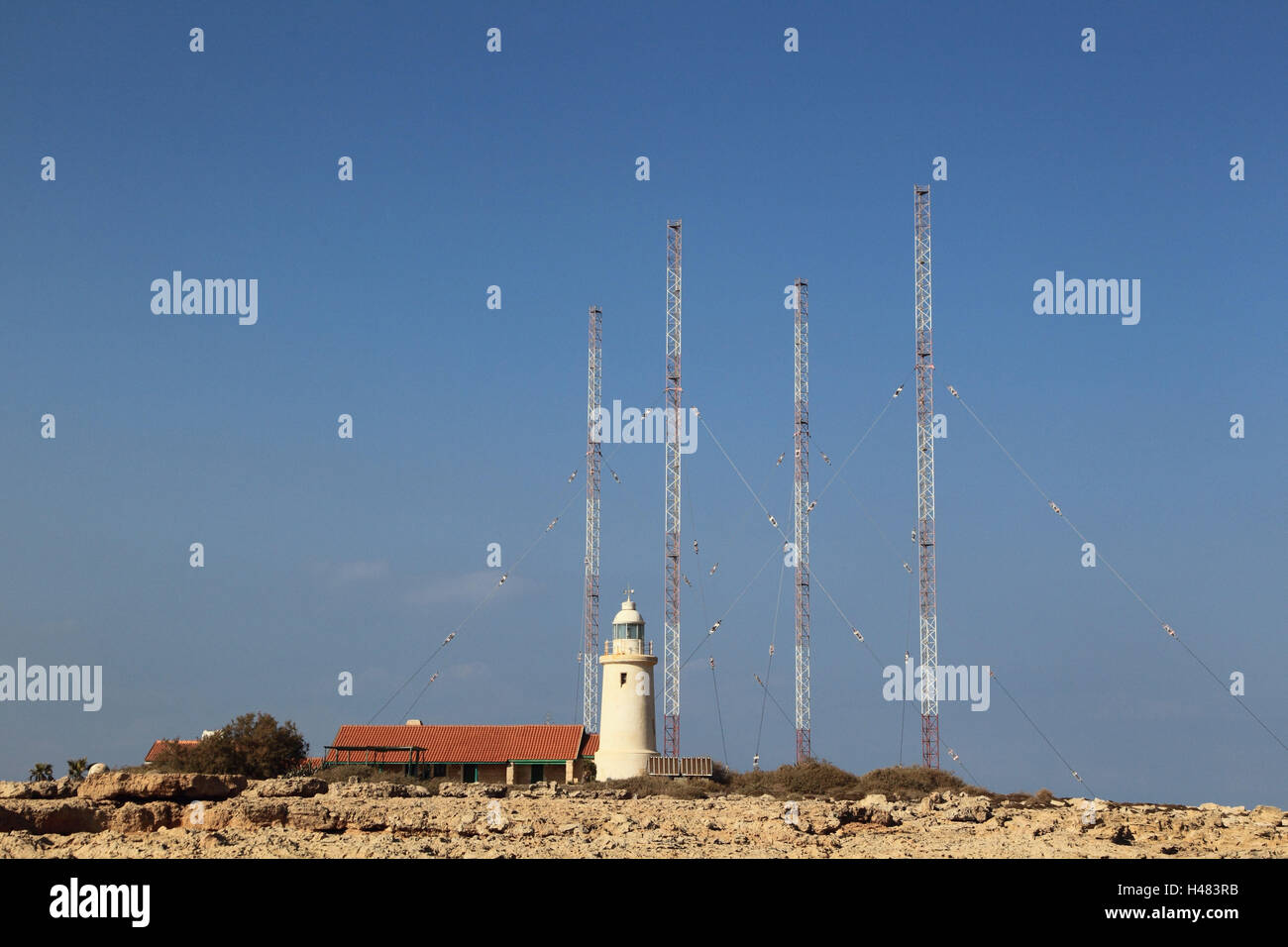Lighthouse and aerials on the south coast Cyprus, - Stock Image