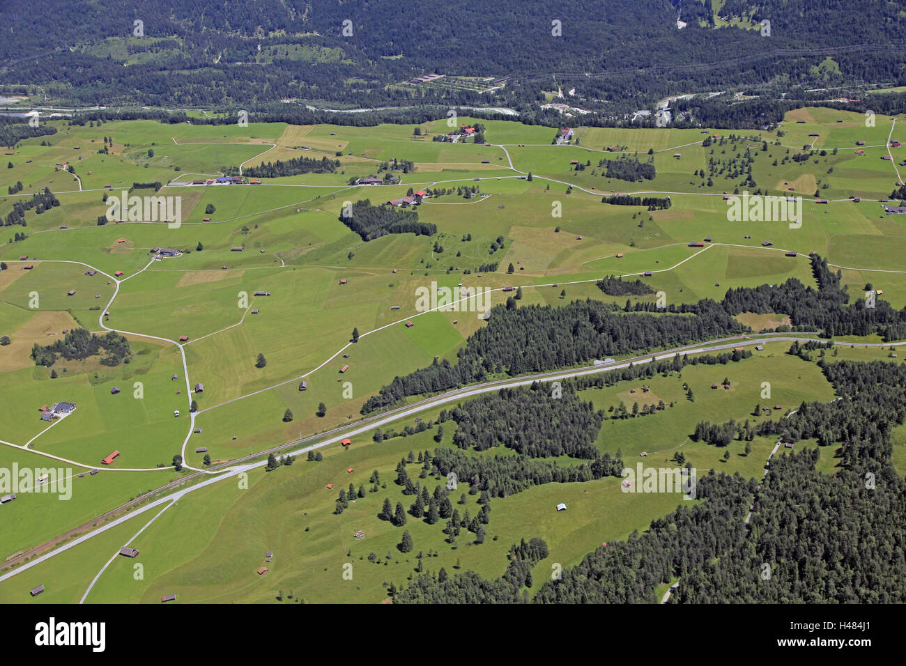 Germany, Upper Bavaria, Mittenwald, hump meadows, aerial shots, Bavaria, in Bavarian, groups trees, federal highway, - Stock Image