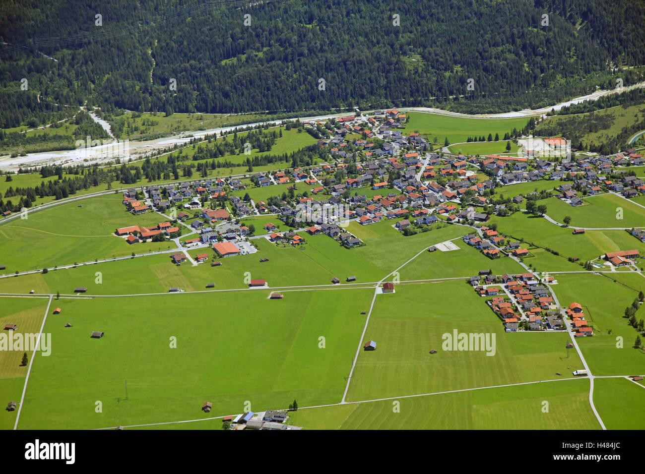 Germany, Upper Bavaria, Krün, aerial shots, Isar valley, Bavaria, in Bavarian, groups trees, ways, agrarian - Stock Image