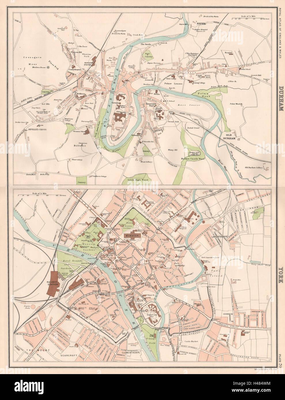 Durham York Antique Town City Plans Bartholomew 1898 Old Map