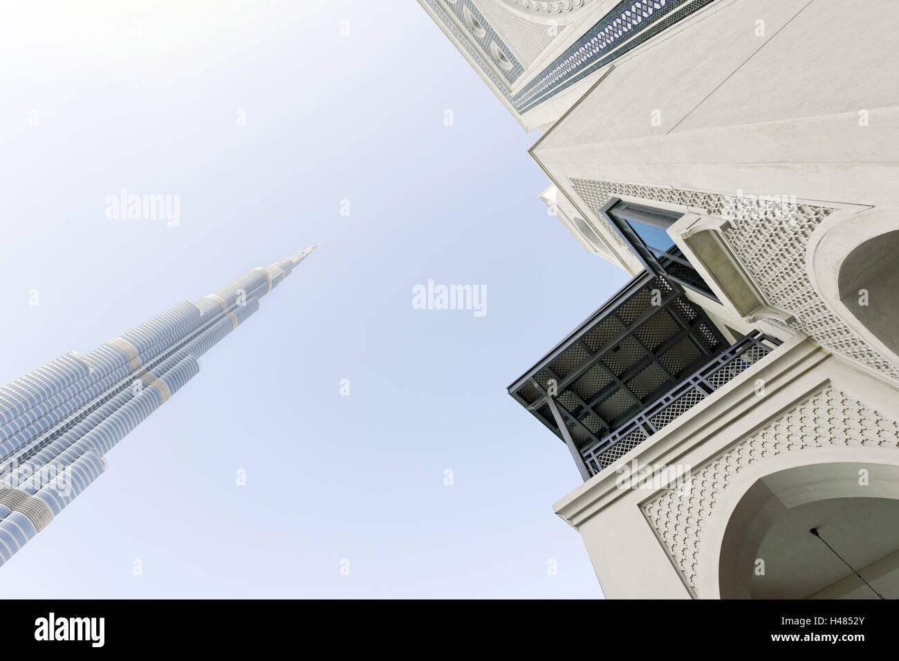 Burj Khalifa and Souk Al Bahar, Downtown Dubai, Dubai, United Arab Emirates, the Middle East - Stock Image