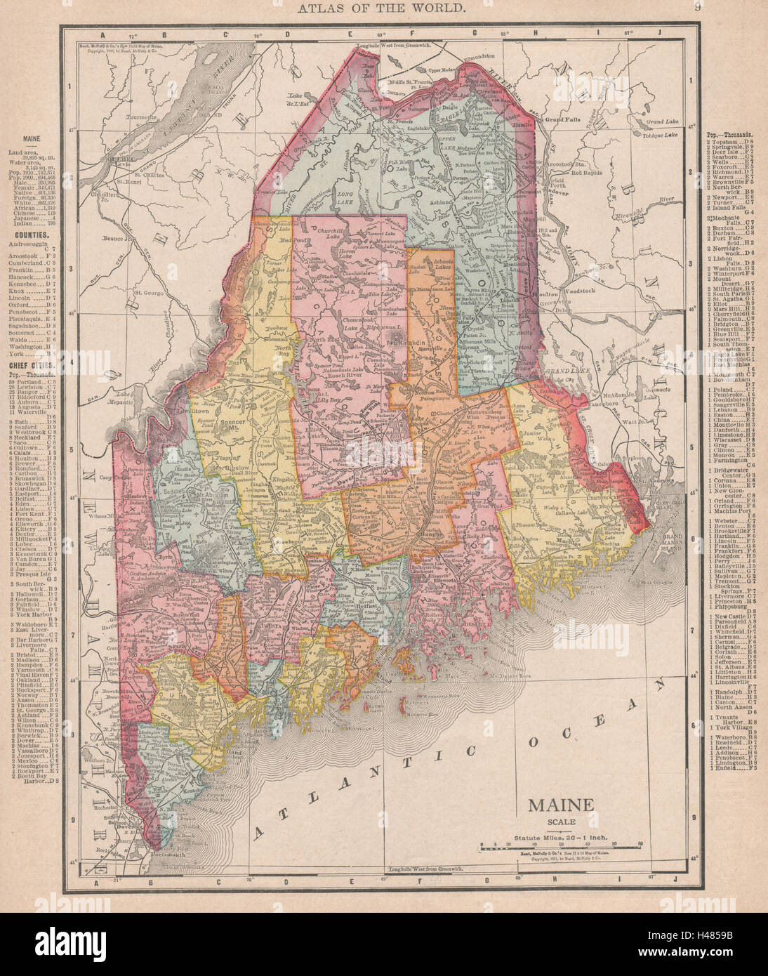 Maine state map showing counties. RAND MCNALLY 1912 old ... on maine colleges map, maine regions map, state of maine map, maine towns map, maine state road map printable, maine mountains map, old maine map, maine lakes map, maine legislature map, maine political map, maine land ownership map, maine weather map, maine zip codes map, maine services map, maine real estate map, maine county, maine watersheds map, maine hospitals map, maine city map,