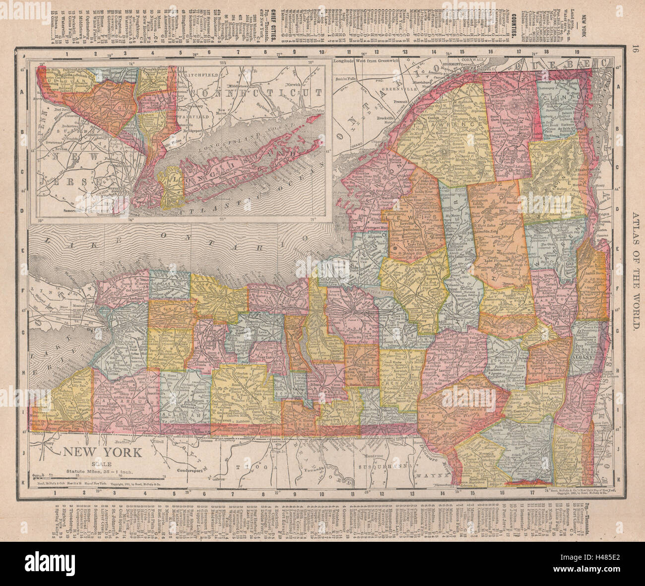 New York state map showing counties. RAND MCNALLY 1912 old ... Randy Mcnally State Maps on brown maps, white maps, united states maps, motorcycle road maps,