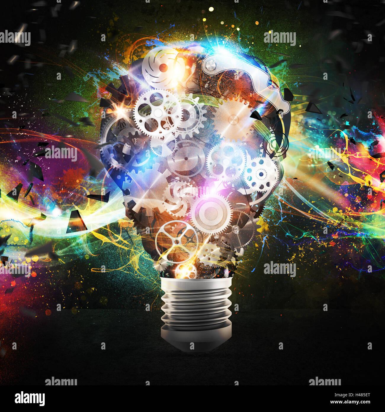 Mechanism gears lighting lightbulb. 3d rendering - Stock Image