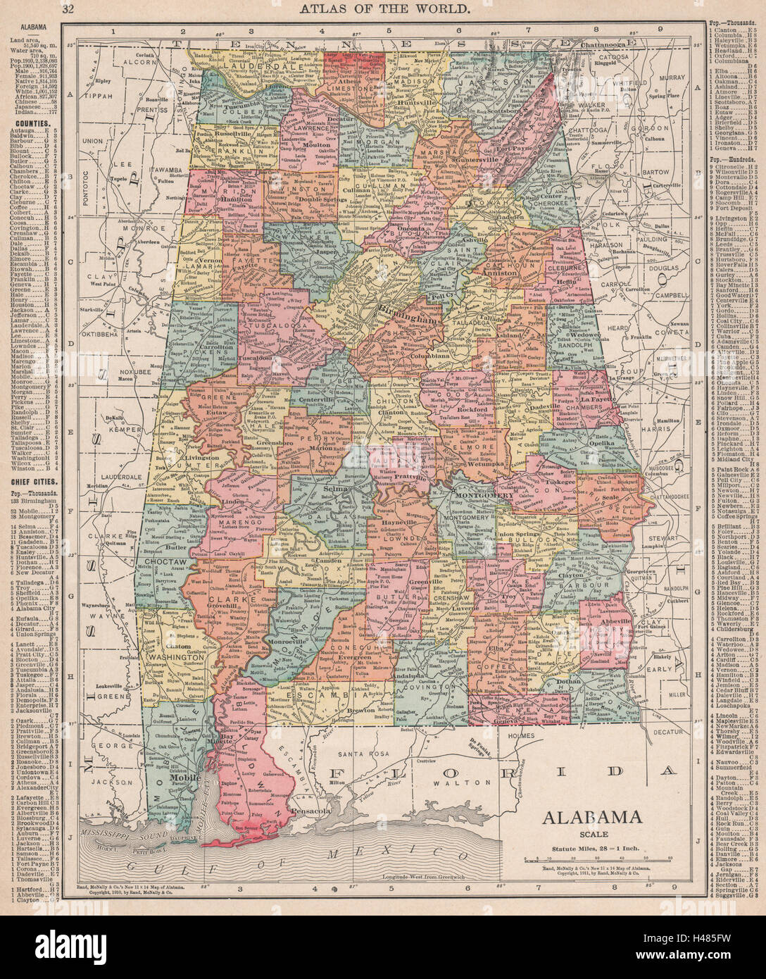 Alabama state map showing counties. RAND MCNALLY 1912 old antique ...