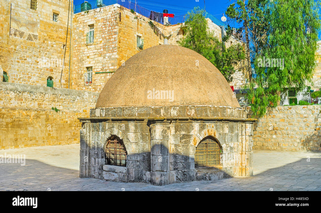 The cupola in the middle of the roof of the Church of Holy Sepulchre, admits light to St Helena's crypt, Jerusalem, - Stock Image