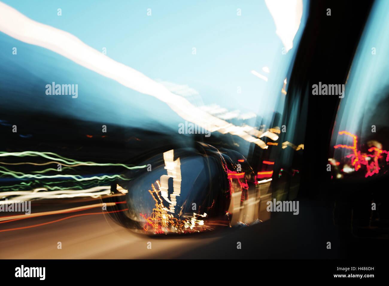 Car, journey, night, landing stages, neon light, fish market, Mitte, Hanseatic City of Hamburg, Germany, - Stock Image