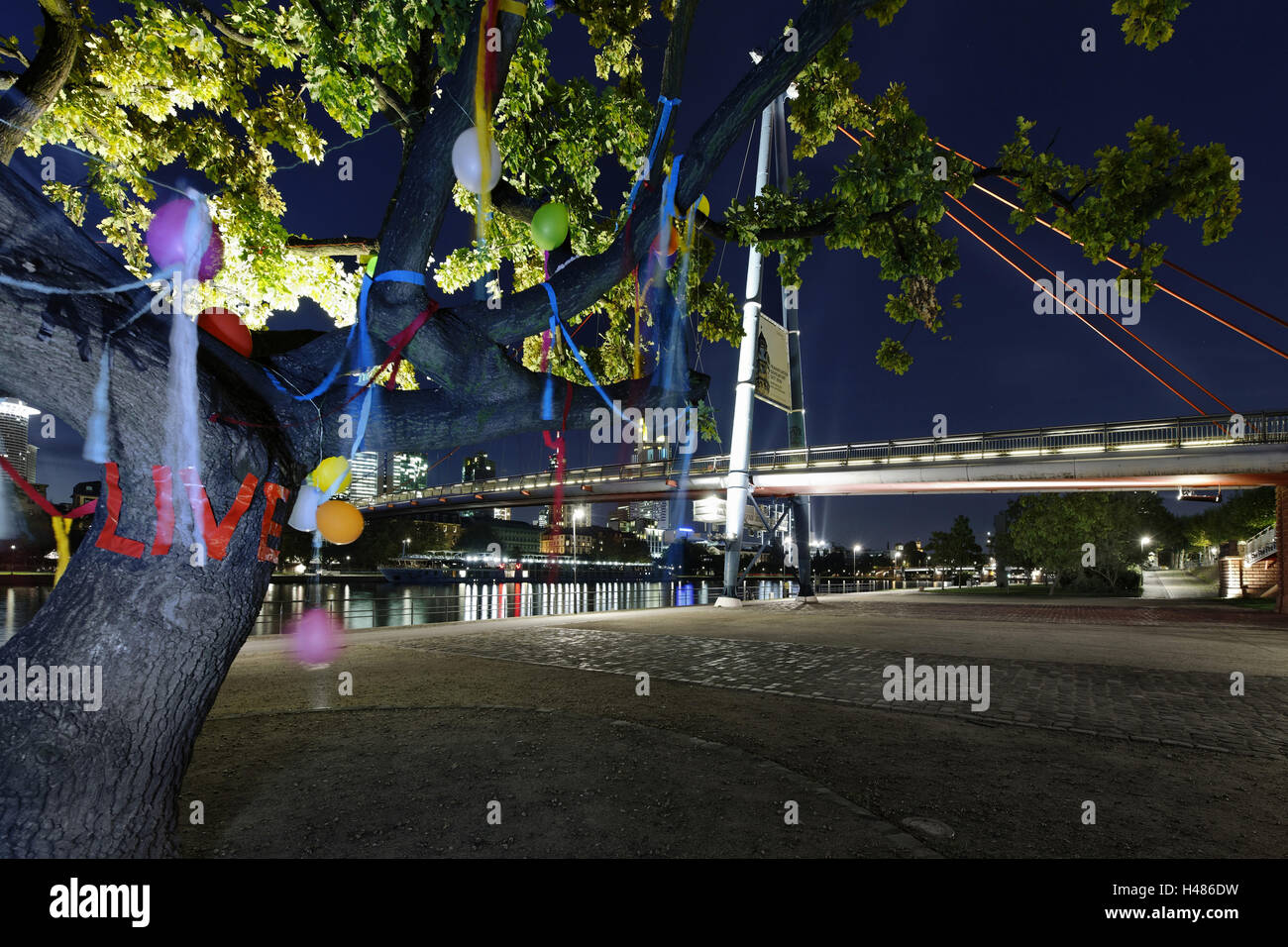 decorated tree of a couple in love in front of Holbeinsteg, footbridge, skyline banking district, Frankfurt on the Stock Photo
