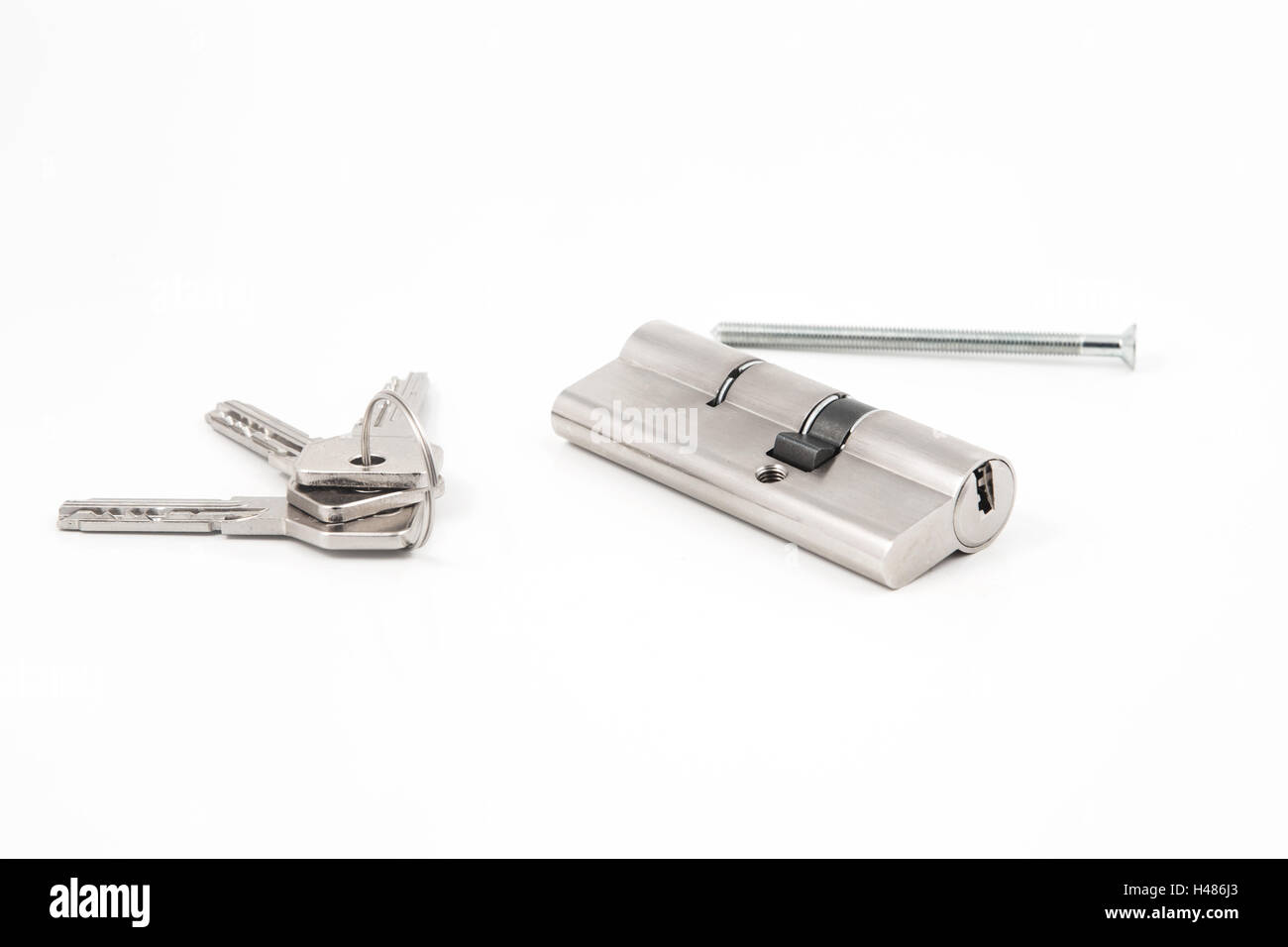 an security lock with cylinder and key door handle - Stock Image