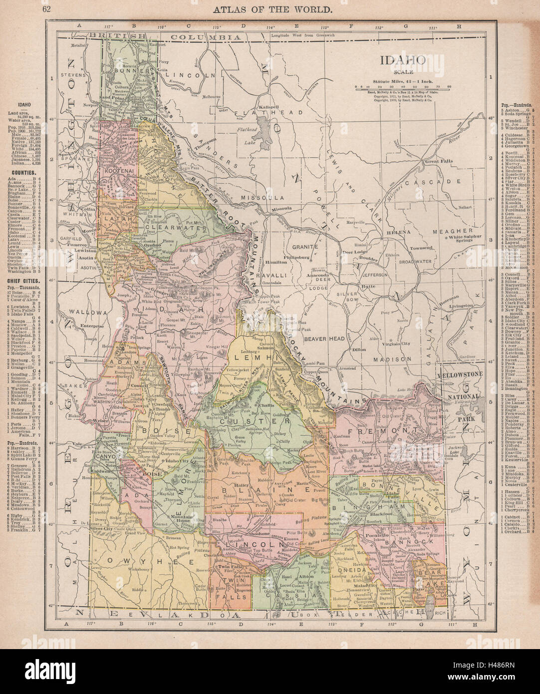 Idaho State Map Showing Counties Rand Mcnally 1912 Old Antique Plan