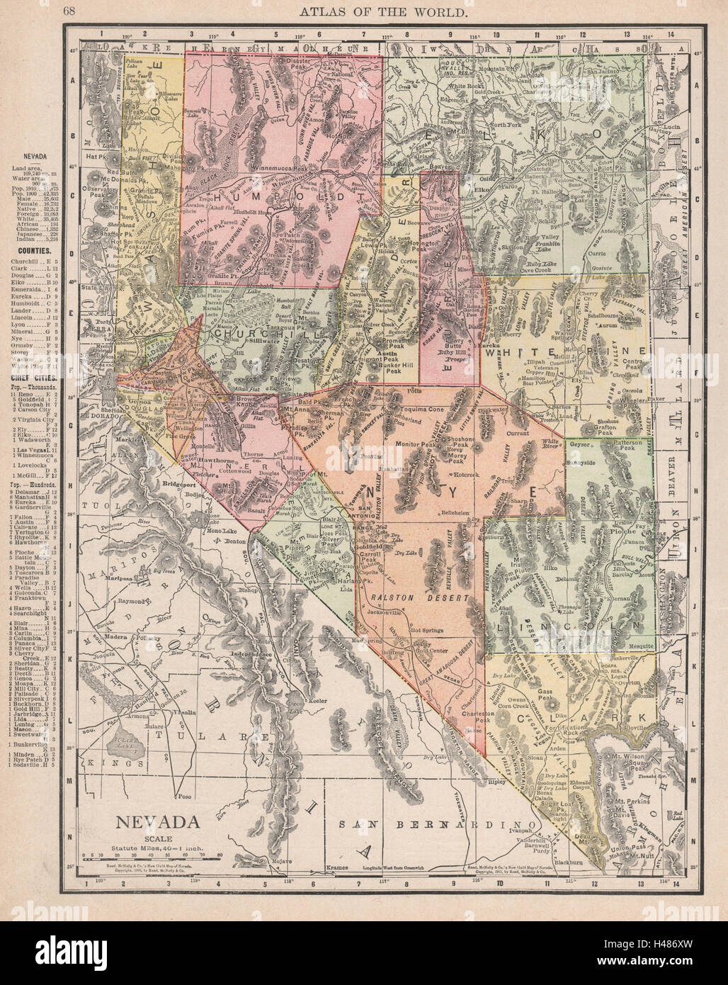 Nevada State Map Shows Las Vegas Incorporated 1911 Rand Mcnally
