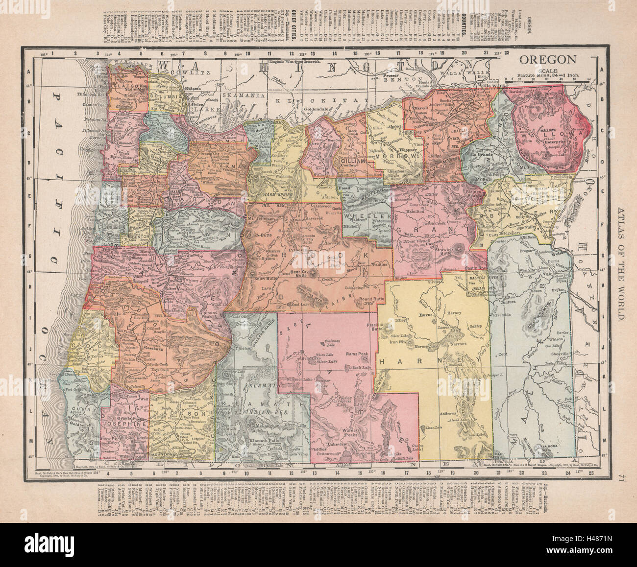 Oregon state map showing counties. RAND MCNALLY 1912 old antique ...