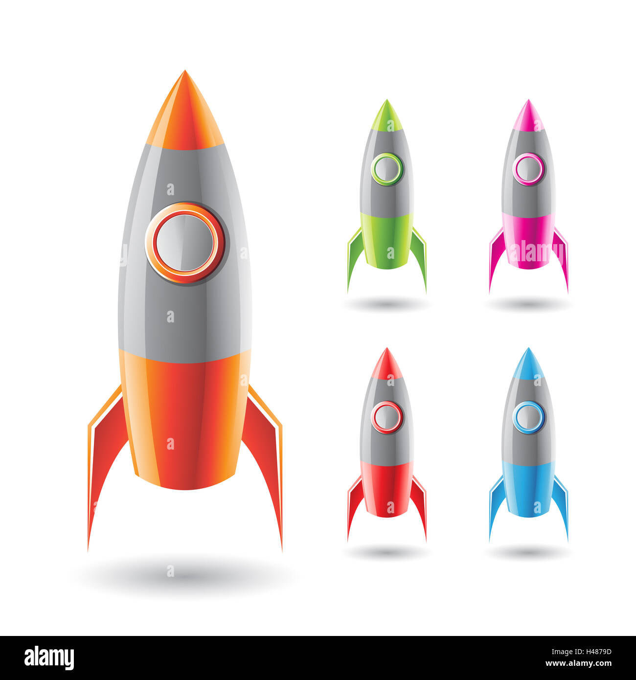 Vector Illustration of Colorful Rockets with Grey Body isolated on a White Background - Stock Image