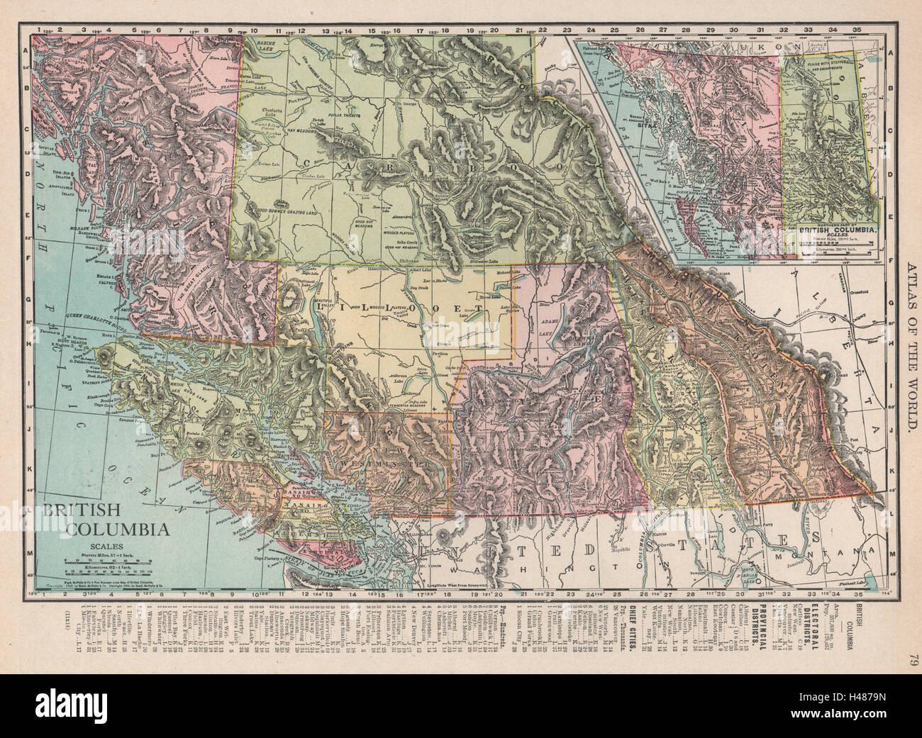 Rand Mcnally Canada Map British Columbia. Canada. RAND MCNALLY 1912 old antique vintage