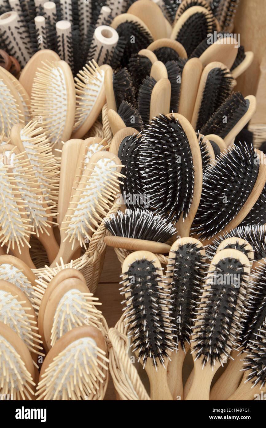 Brushes, passed away, comb hairbrush, care, hair care, naturalness, bristles, nature bristles, nature brushes, nature - Stock Image