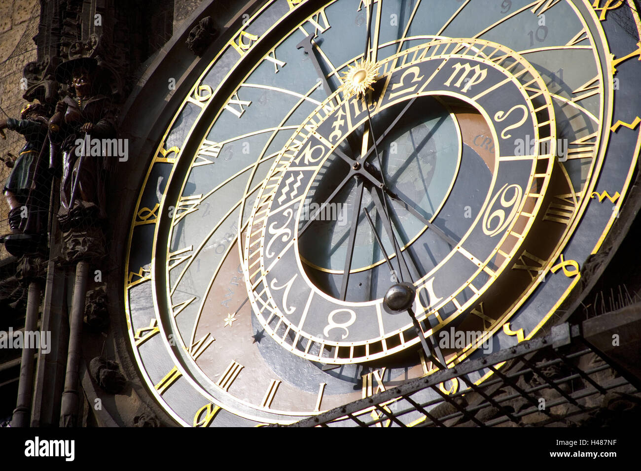 Sundial, town square, marketplace, Old Town, Prague, clock, hand, time, time, time knife, astronomy, - Stock Image