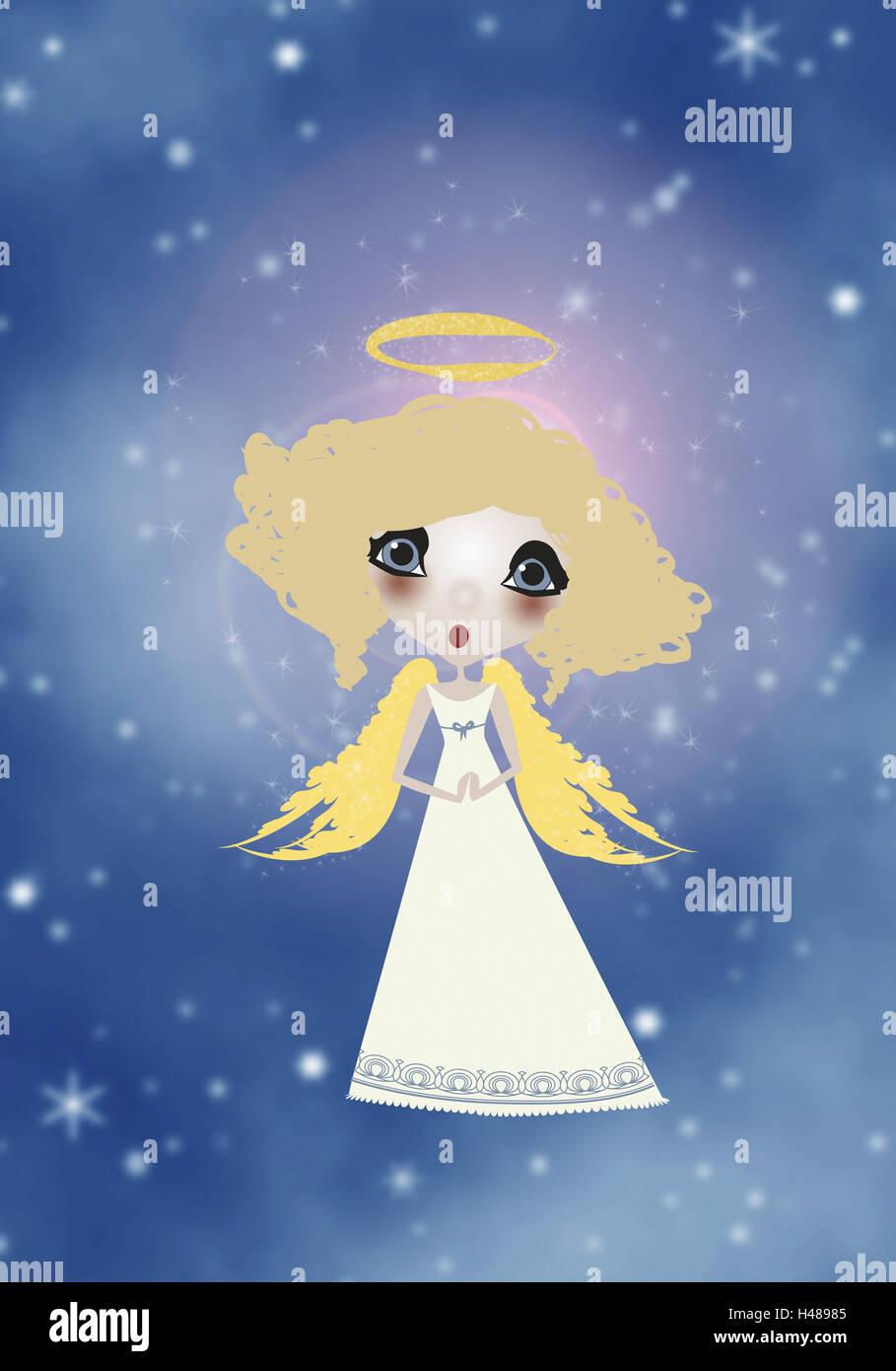 Illustration, sky, angel, blond, sing, graphics, stars, celestial body, figure, little angel, infant Jesus, for - Stock Image