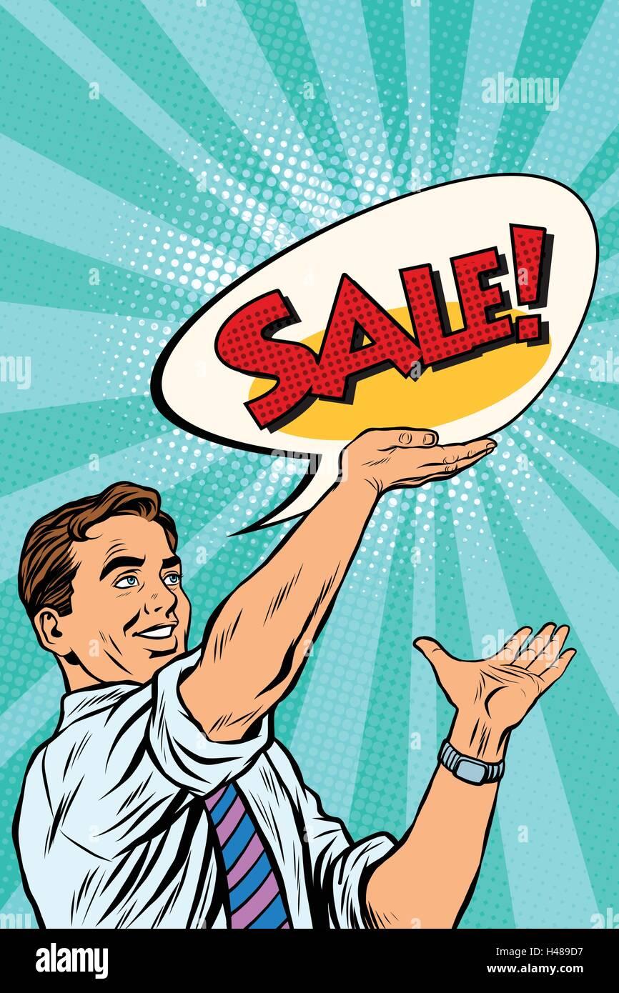 Pop art retro man announcing sales - Stock Vector