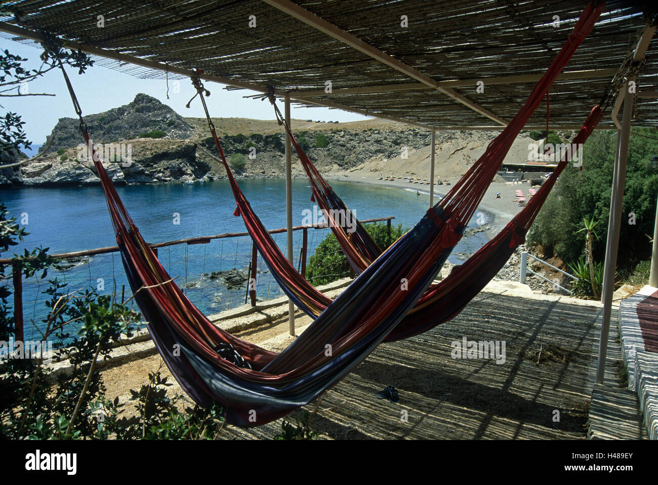 Greece, Crete, agio Pavlos, terrace, hammocks, bay, - Stock Image