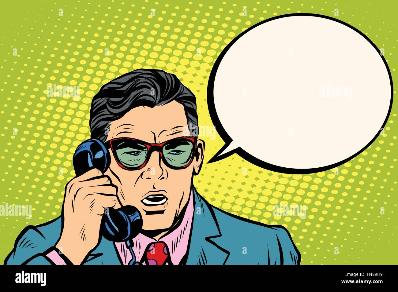 Surprise. Businessman talking on the phone - Stock Vector